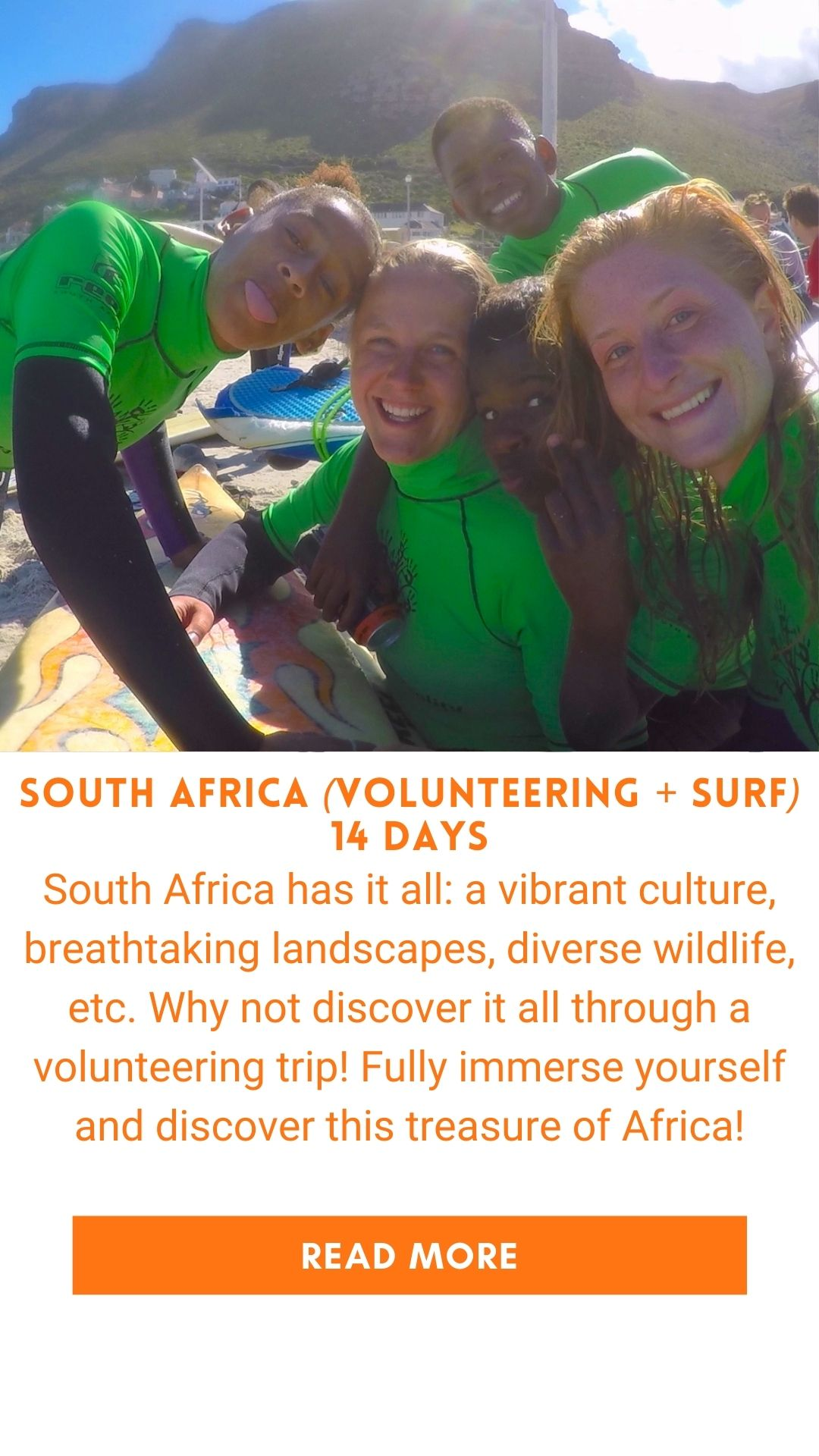Organized trip in South Africa surf volunteering